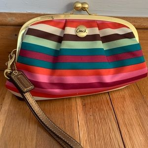 Multi-Color Coach Clutch with Wrist Strap